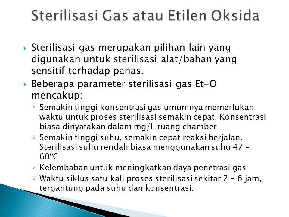  Sterilisasi gas merupakan pilihan lain yang digunakan untuk sterilisasi alat/bahan yang sensitif terhadap panas.  Beberapa parameter sterilisasi ga