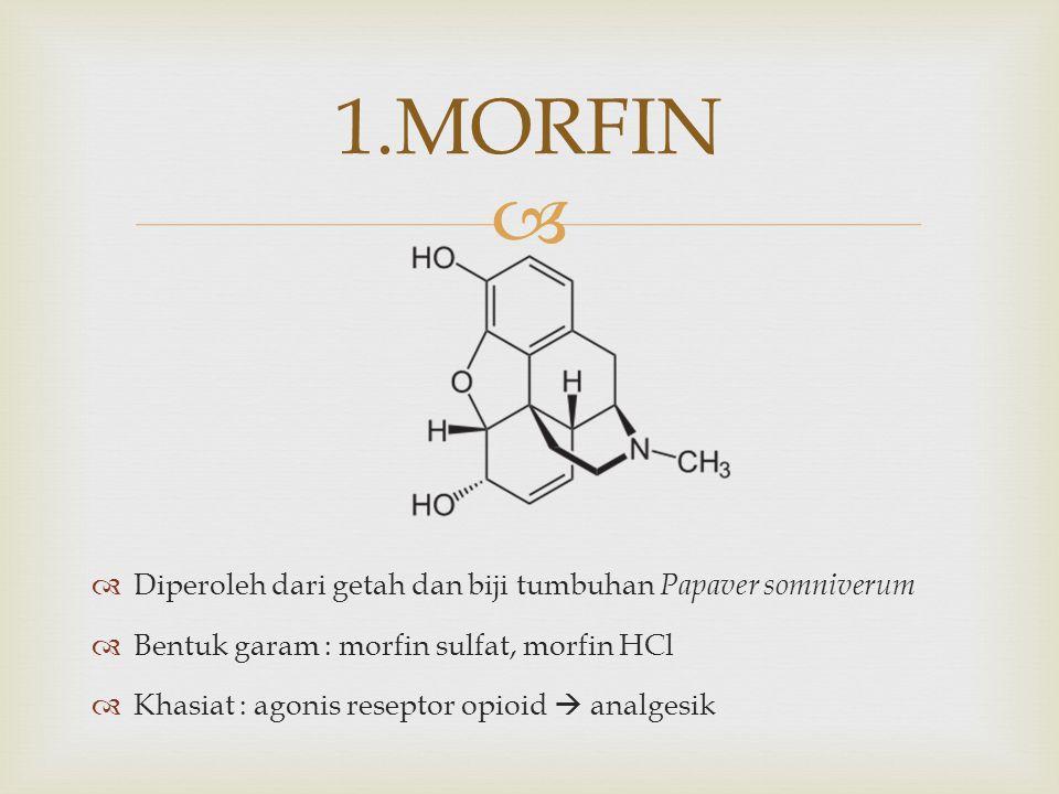   Diperoleh dari getah dan biji tumbuhan Papaver somniverum  Bentuk garam : morfin sulfat, morfin HCl  Khasiat : agonis reseptor opioid  analgesi