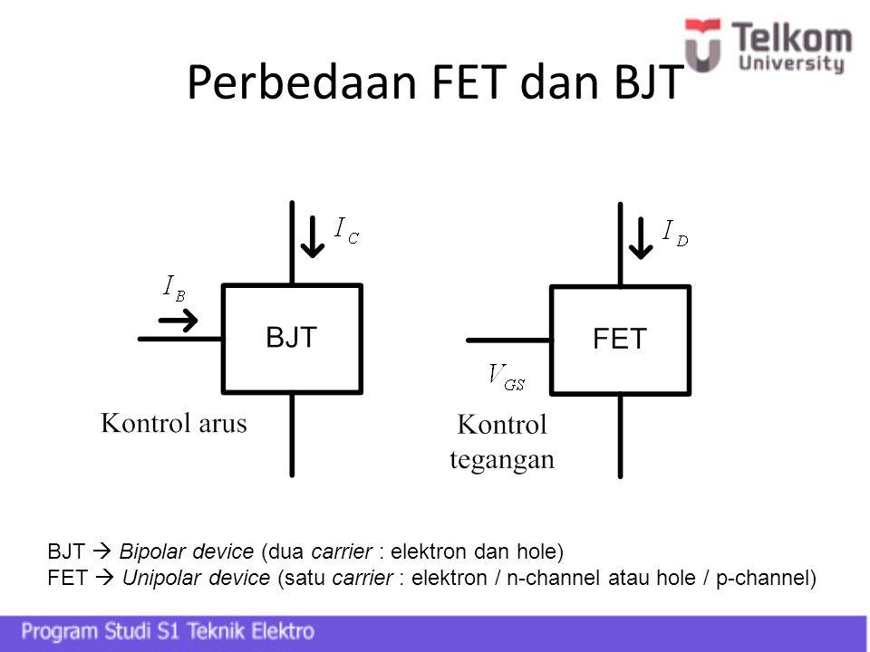 Perbedaan FET dan BJT BJT  Bipolar device (dua carrier : elektron dan hole) FET  Unipolar device (satu carrier : elektron / n-channel atau hole / p-