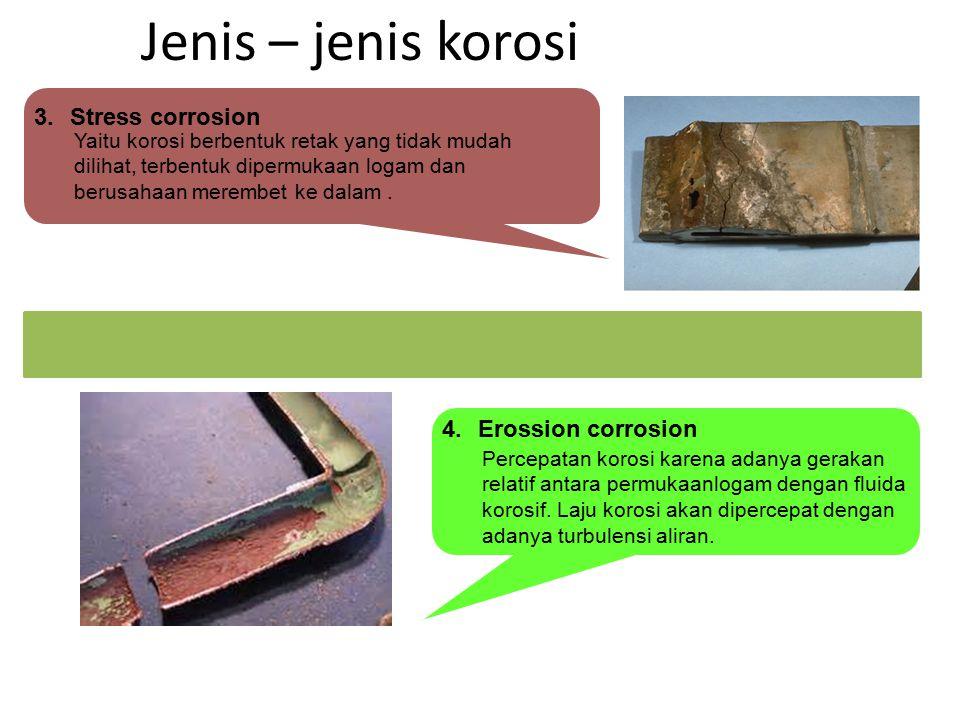 Jenis – jenis korosi Yaitu korosi berbentuk retak yang tidak mudah dilihat, terbentuk dipermukaan logam dan berusahaan merembet ke dalam. Percepatan k