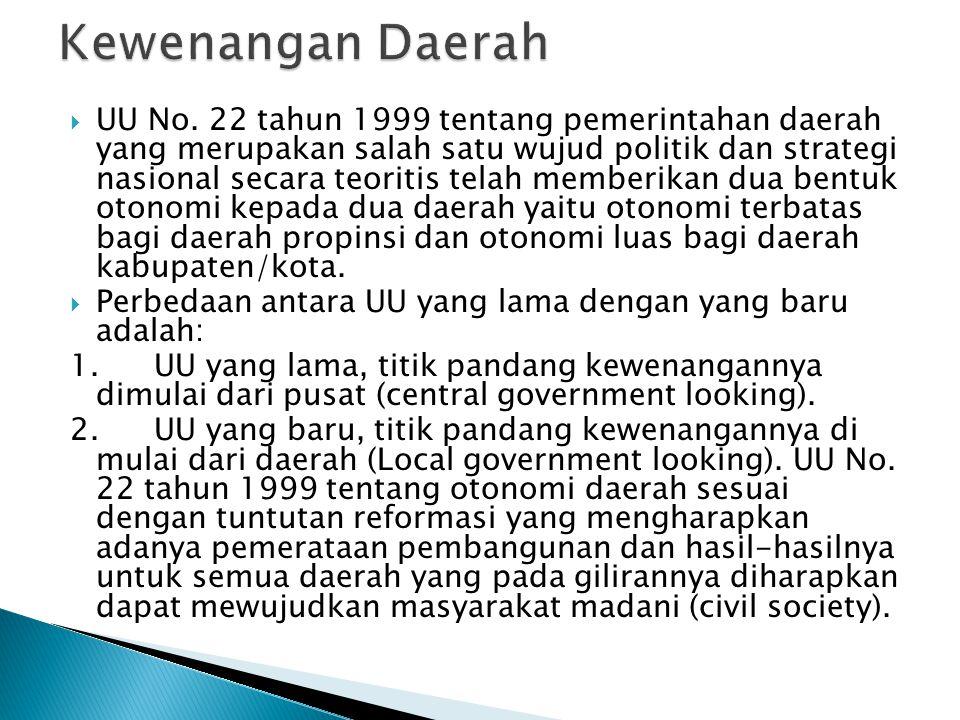  UU No. 22 tahun 1999 tentang pemerintahan daerah yang merupakan salah satu wujud politik dan strategi nasional secara teoritis telah memberikan dua