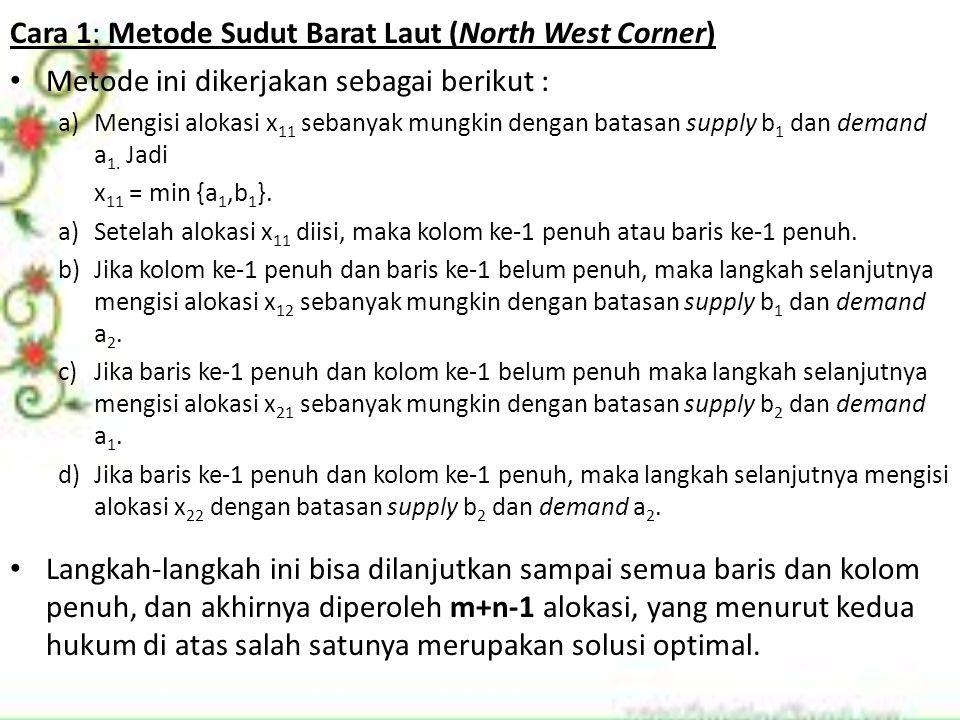 Cara 1: Metode Sudut Barat Laut (North West Corner) Metode ini dikerjakan sebagai berikut : a)Mengisi alokasi x 11 sebanyak mungkin dengan batasan sup