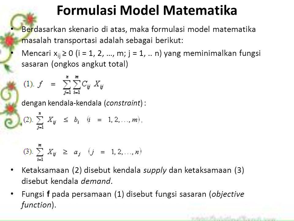 Formulasi Model Matematika Berdasarkan skenario di atas, maka formulasi model matematika masalah transportasi adalah sebagai berikut: Mencari x ij ≥ 0