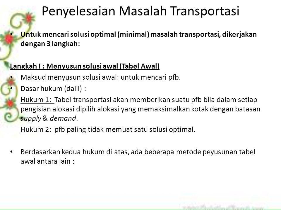 Penyelesaian Masalah Transportasi Untuk mencari solusi optimal (minimal) masalah transportasi, dikerjakan dengan 3 langkah: Langkah I : Menyusun solus