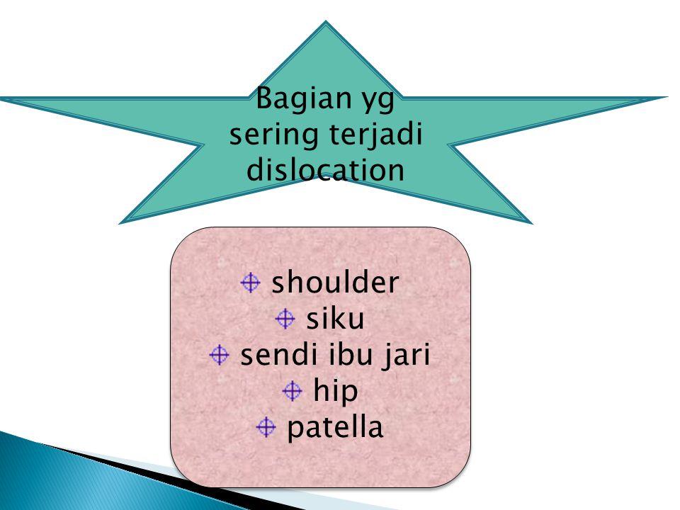 shoulder siku sendi ibu jari hip patella shoulder siku sendi ibu jari hip patella Bagian yg sering terjadi dislocation