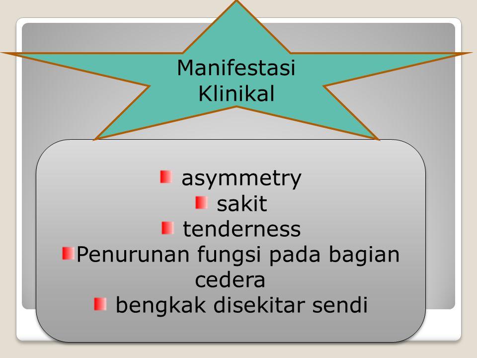 asymmetry sakit tenderness Penurunan fungsi pada bagian cedera bengkak disekitar sendi asymmetry sakit tenderness Penurunan fungsi pada bagian cedera