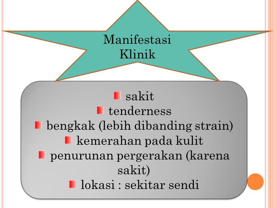 sakit tenderness bengkak (lebih dibanding strain) kemerahan pada kulit penurunan pergerakan (karena sakit) lokasi : sekitar sendi sakit tenderness ben