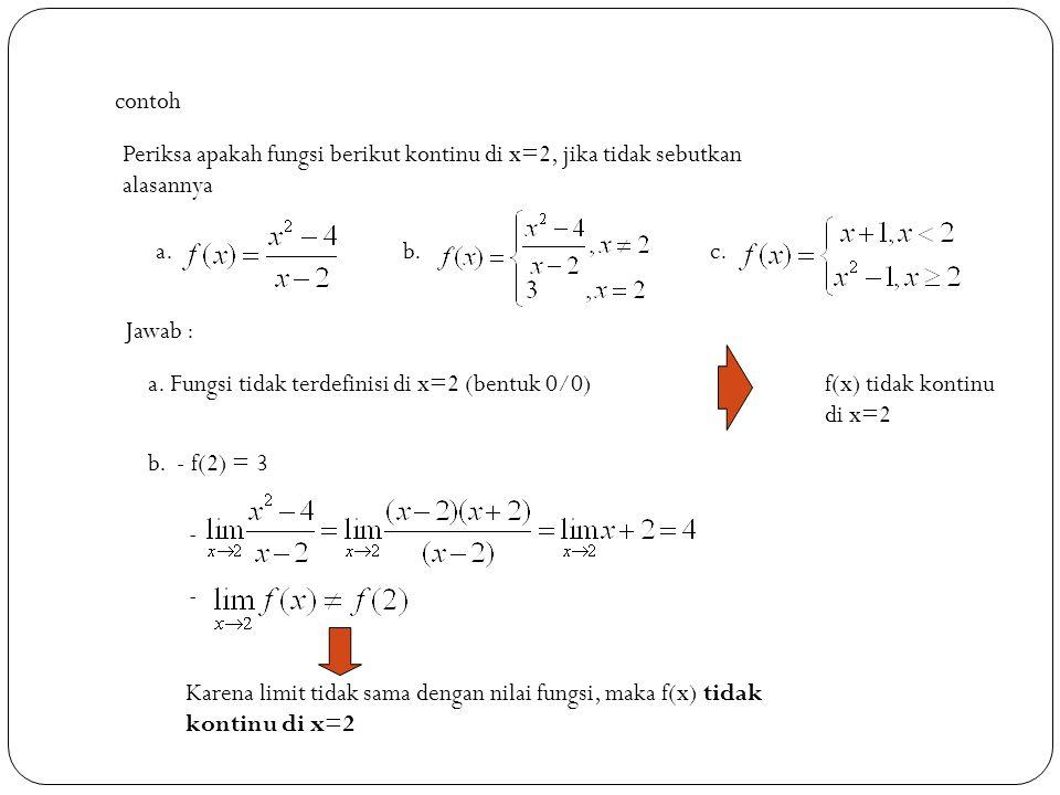 13 contoh Periksa apakah fungsi berikut kontinu di x=2, jika tidak sebutkan alasannya a.