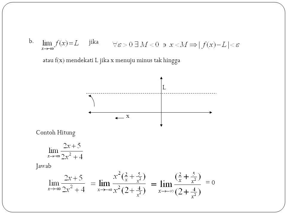 8 jika atau f(x) mendekati L jika x menuju minus tak hingga b. L x Contoh Hitung Jawab = 0