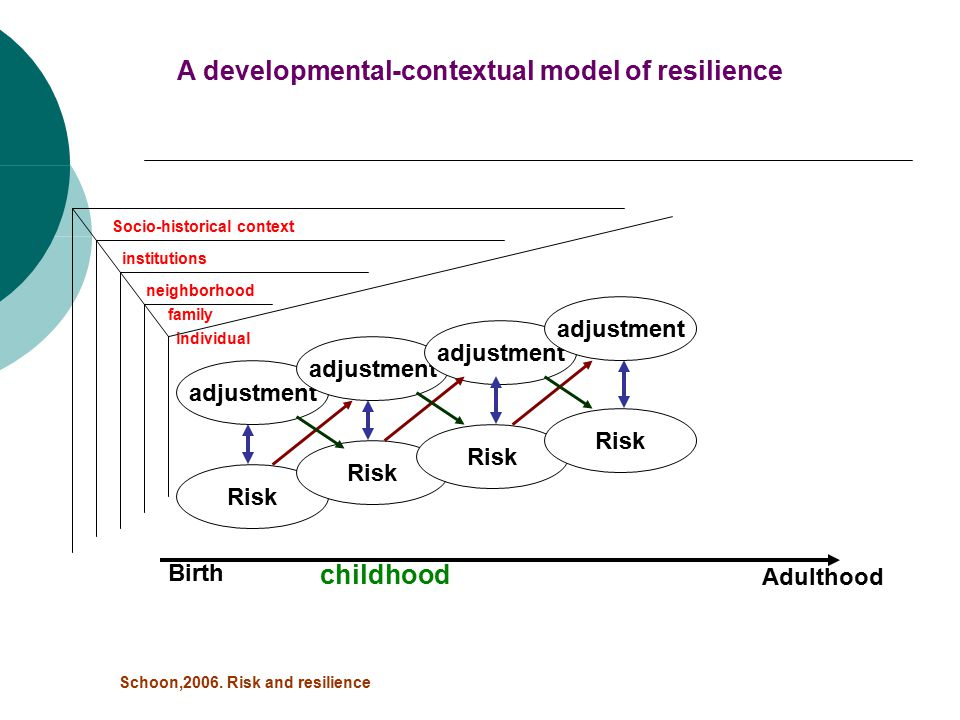 Risk Birth Adulthood adjustment individual family neighborhood institutions Socio-historical context A developmental-contextual model of resilience Schoon,2006.