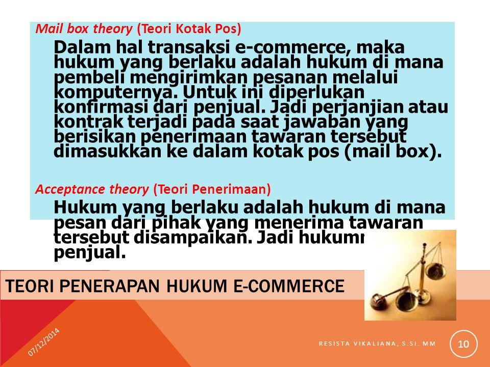 Mail box theory (Teori Kotak Pos) Dalam hal transaksi e-commerce, maka hukum yang berlaku adalah hukum di mana pembeli mengirimkan pesanan melalui kom