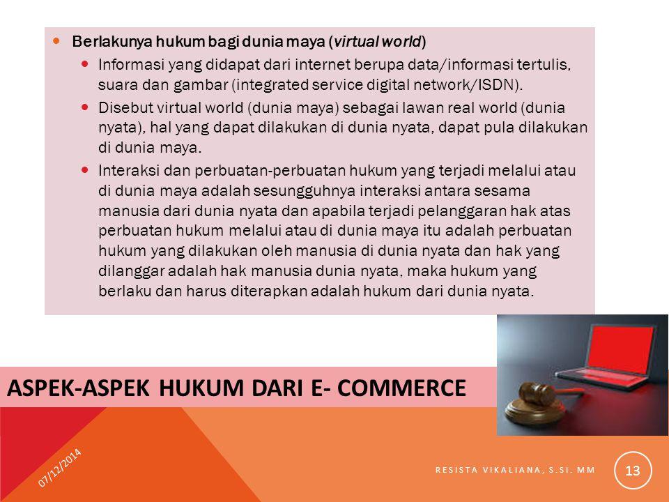 ASPEK-ASPEK HUKUM DARI E- COMMERCE Berlakunya hukum bagi dunia maya (virtual world) Informasi yang didapat dari internet berupa data/informasi tertuli