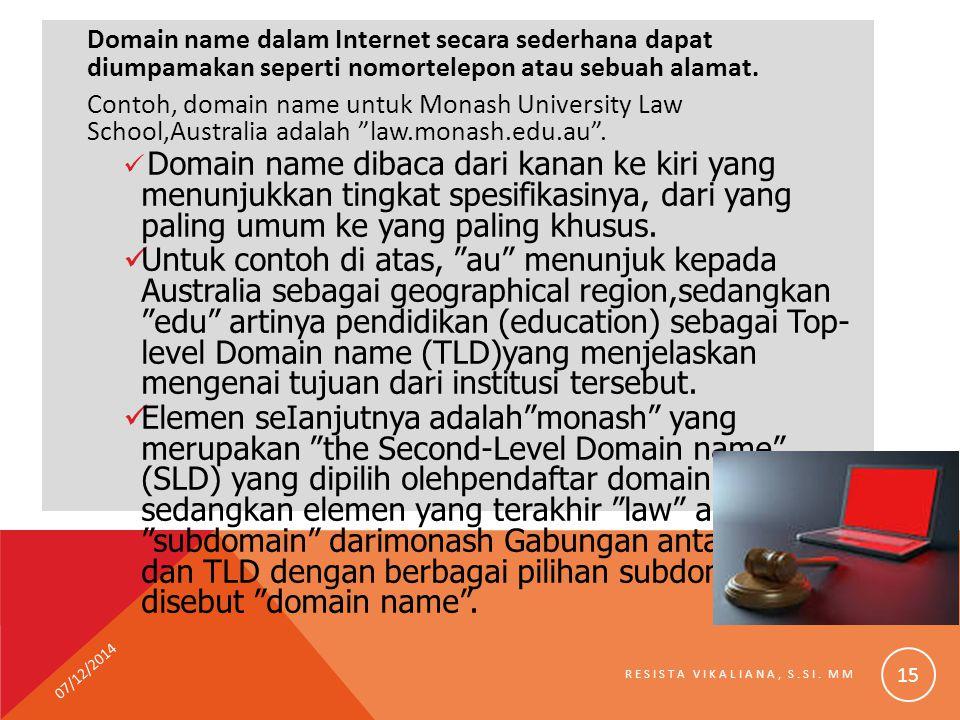 Domain name dalam Internet secara sederhana dapat diumpamakan seperti nomortelepon atau sebuah alamat. Contoh, domain name untuk Monash University Law