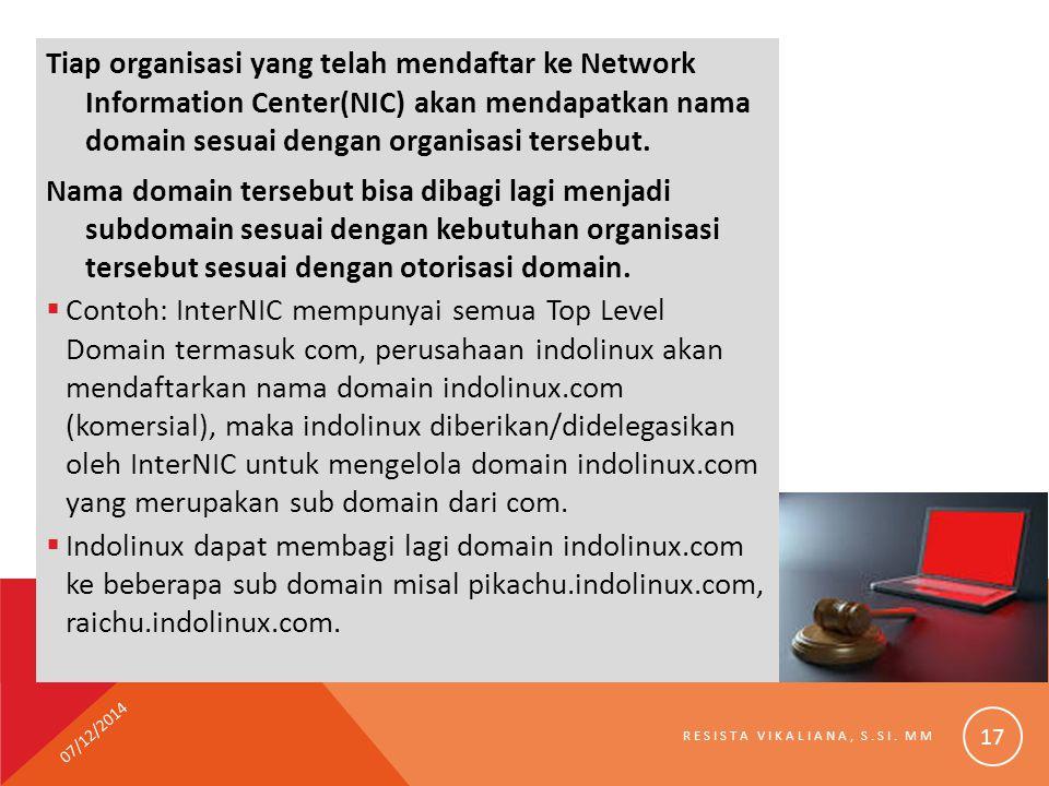Tiap organisasi yang telah mendaftar ke Network Information Center(NIC) akan mendapatkan nama domain sesuai dengan organisasi tersebut. Nama domain te