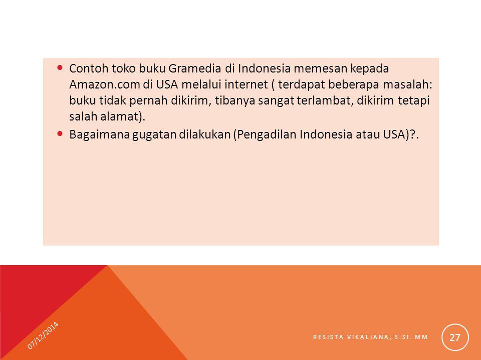 Contoh toko buku Gramedia di Indonesia memesan kepada Amazon.com di USA melalui internet ( terdapat beberapa masalah: buku tidak pernah dikirim, tiban