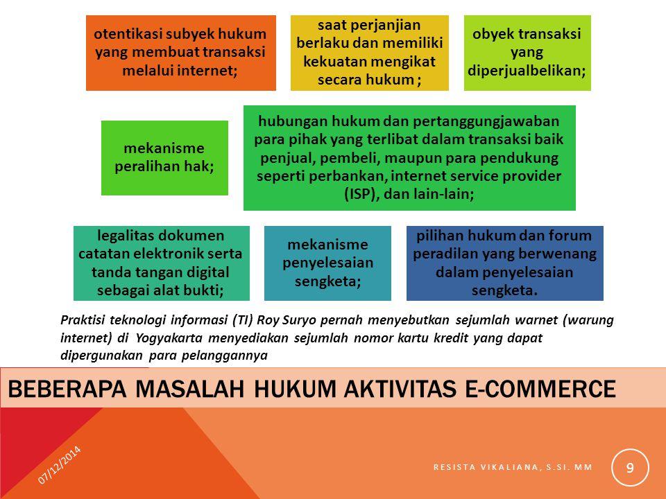 BEBERAPA MASALAH HUKUM AKTIVITAS E-COMMERCE otentikasi subyek hukum yang membuat transaksi melalui internet; saat perjanjian berlaku dan memiliki keku
