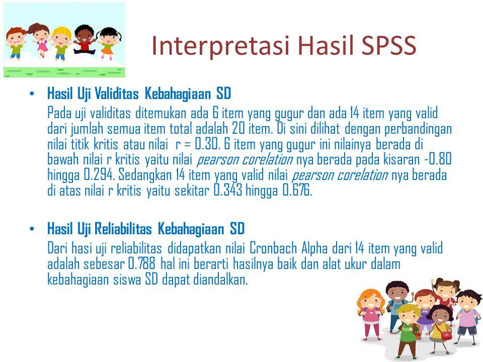Interpretasi Hasil SPSS Hasil Uji Validitas Kebahagiaan SD Pada uji validitas ditemukan ada 6 item yang gugur dan ada 14 item yang valid dari jumlah s