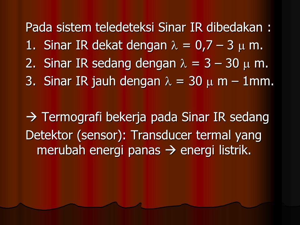 Pada sistem teledeteksi Sinar IR dibedakan : 1. Sinar IR dekat dengan = 0,7 – 3  m. 2. Sinar IR sedang dengan = 3 – 30  m. 3. Sinar IR jauh dengan =
