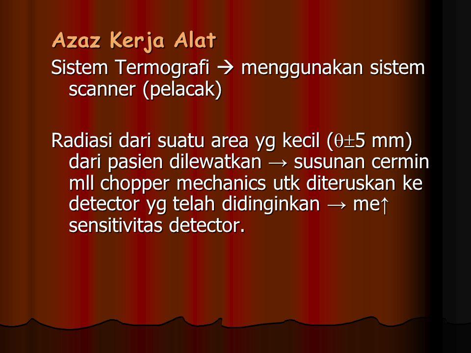 Azaz Kerja Alat Sistem Termografi  menggunakan sistem scanner (pelacak) Radiasi dari suatu area yg kecil (  5 mm) dari pasien dilewatkan → susunan