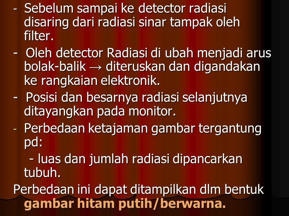 - Sebelum sampai ke detector radiasi disaring dari radiasi sinar tampak oleh filter. - Oleh detector Radiasi di ubah menjadi arus bolak-balik → diteru