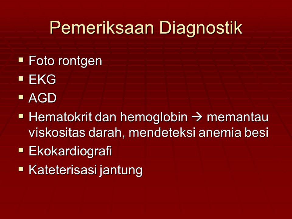 Pemeriksaan Diagnostik  Foto rontgen  EKG  AGD  Hematokrit dan hemoglobin  memantau viskositas darah, mendeteksi anemia besi  Ekokardiografi  K
