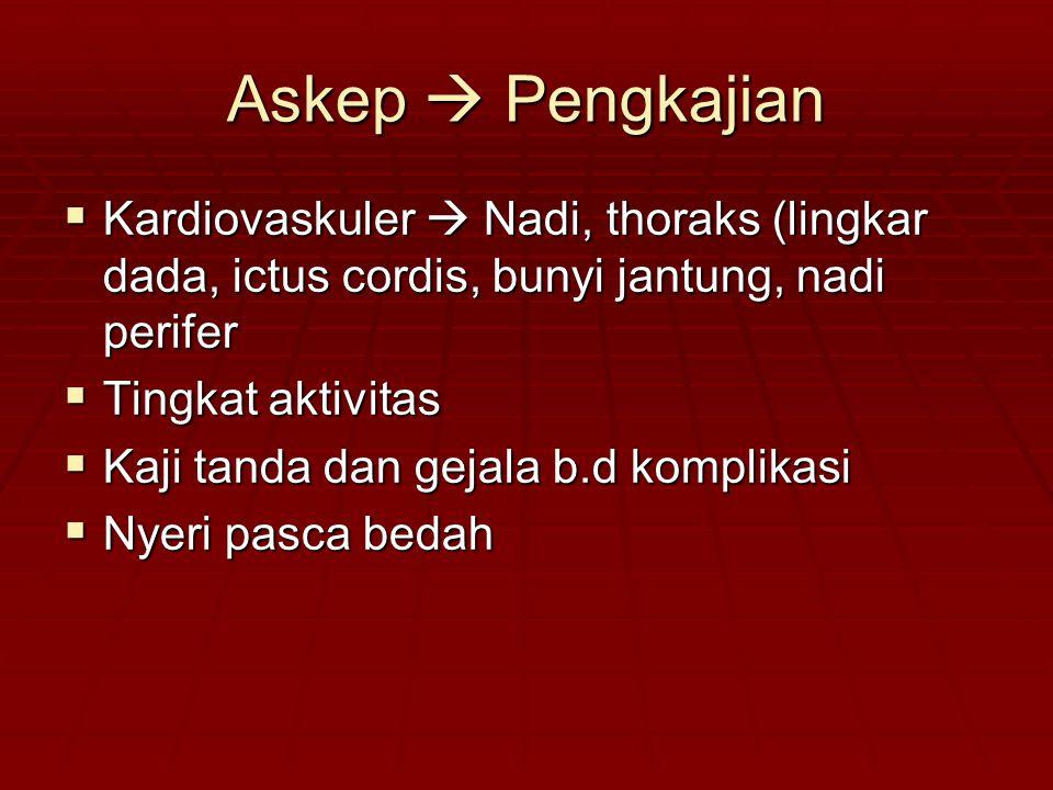 Askep  Pengkajian  Kardiovaskuler  Nadi, thoraks (lingkar dada, ictus cordis, bunyi jantung, nadi perifer  Tingkat aktivitas  Kaji tanda dan geja
