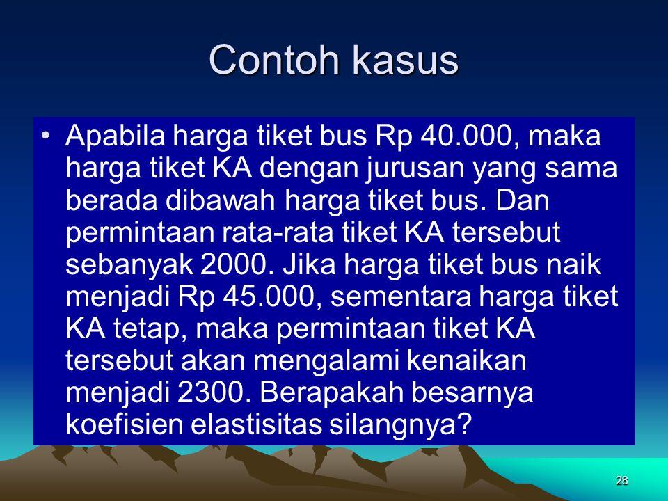28 Contoh kasus Apabila harga tiket bus Rp 40.000, maka harga tiket KA dengan jurusan yang sama berada dibawah harga tiket bus. Dan permintaan rata-ra