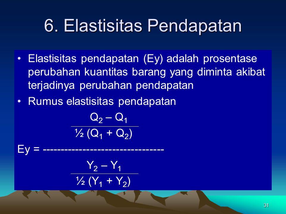 31 6. Elastisitas Pendapatan Elastisitas pendapatan (Ey) adalah prosentase perubahan kuantitas barang yang diminta akibat terjadinya perubahan pendapa