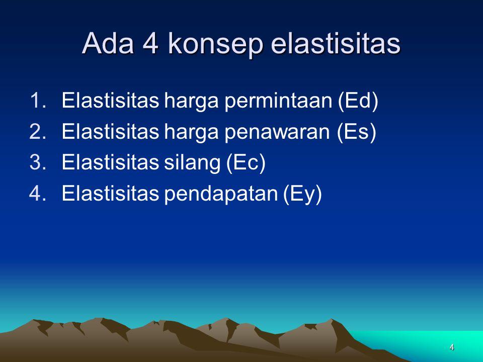 4 Ada 4 konsep elastisitas 1.Elastisitas harga permintaan (Ed) 2.Elastisitas harga penawaran (Es) 3.Elastisitas silang (Ec) 4.Elastisitas pendapatan (