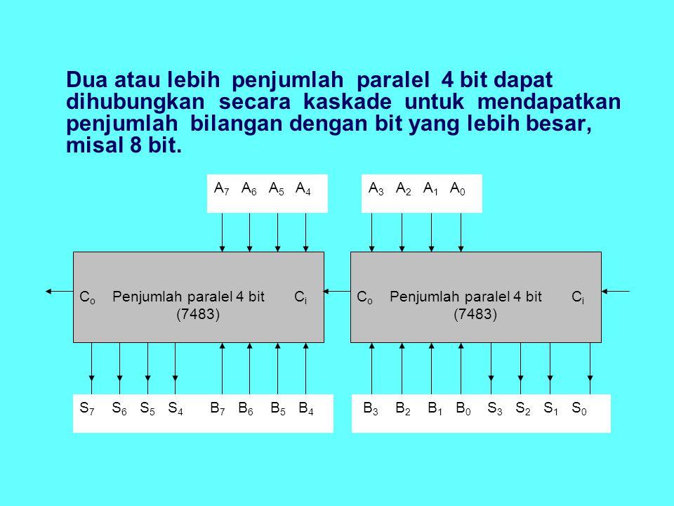 Dua atau lebih penjumlah paralel 4 bit dapat dihubungkan secara kaskade untuk mendapatkan penjumlah bilangan dengan bit yang lebih besar, misal 8 bit.
