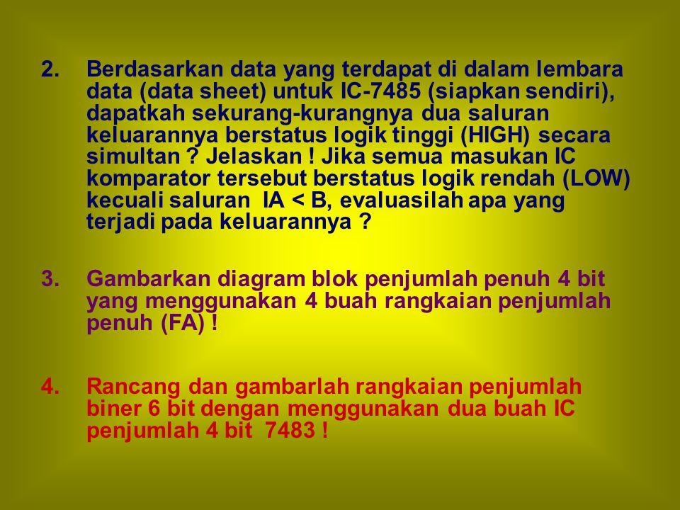 2. Berdasarkan data yang terdapat di dalam lembara data (data sheet) untuk IC-7485 (siapkan sendiri), dapatkah sekurang-kurangnya dua saluran keluaran