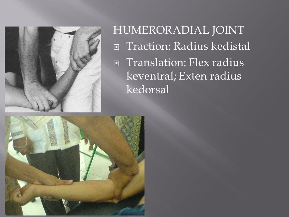 HUMERORADIAL JOINT  Traction: Radius kedistal  Translation: Flex radius keventral; Exten radius kedorsal