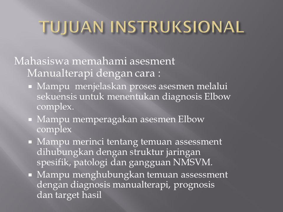 Mahasiswa memahami asesment Manualterapi dengan cara :  Mampu menjelaskan proses asesmen melalui sekuensis untuk menentukan diagnosis Elbow complex.
