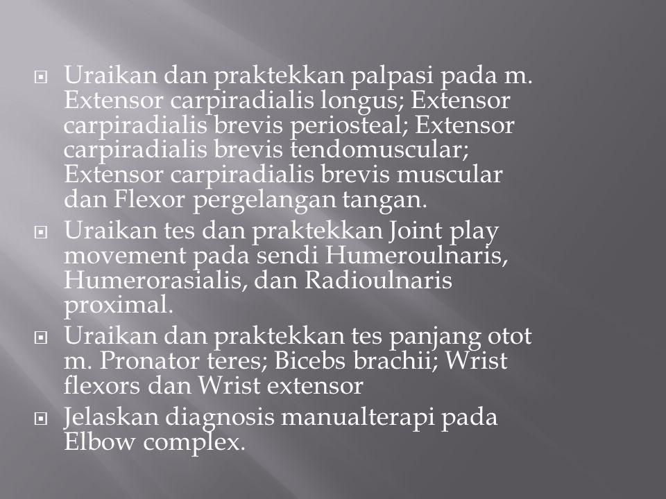 Uraikan dan praktekkan palpasi pada m. Extensor carpiradialis longus; Extensor carpiradialis brevis periosteal; Extensor carpiradialis brevis tendom