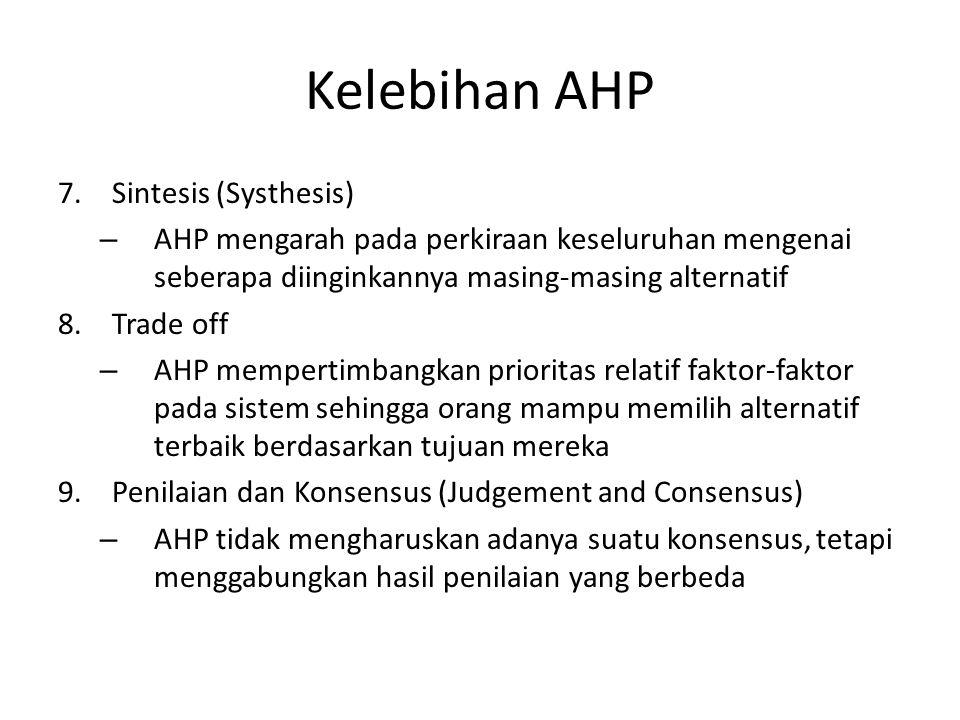 Kelebihan AHP 7.Sintesis (Systhesis) – AHP mengarah pada perkiraan keseluruhan mengenai seberapa diinginkannya masing-masing alternatif 8.Trade off –