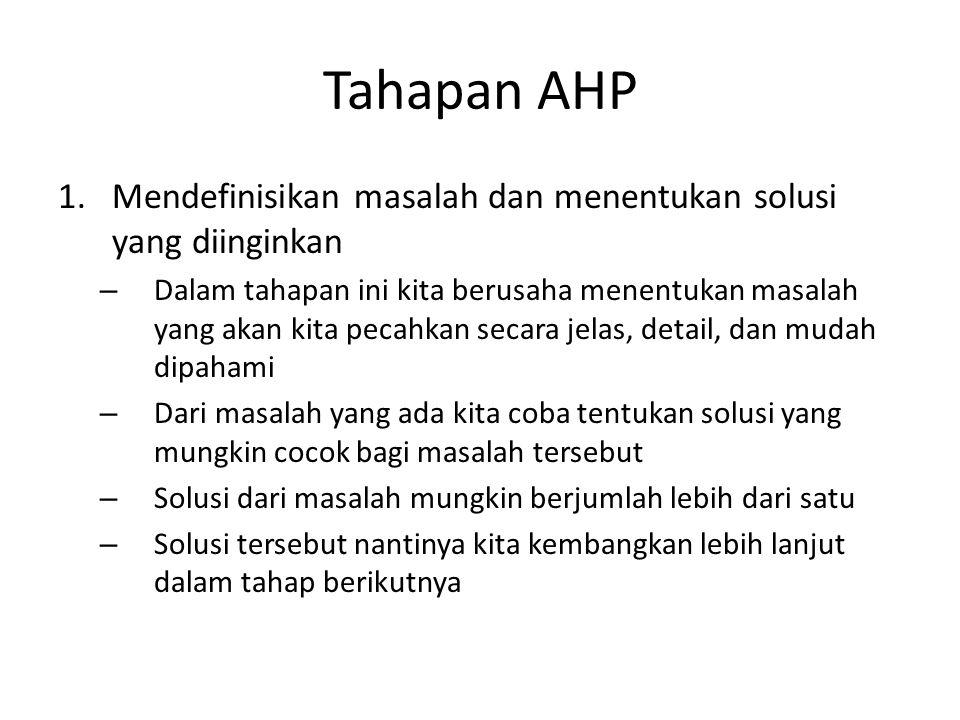 Tahapan AHP 1.Mendefinisikan masalah dan menentukan solusi yang diinginkan – Dalam tahapan ini kita berusaha menentukan masalah yang akan kita pecahka