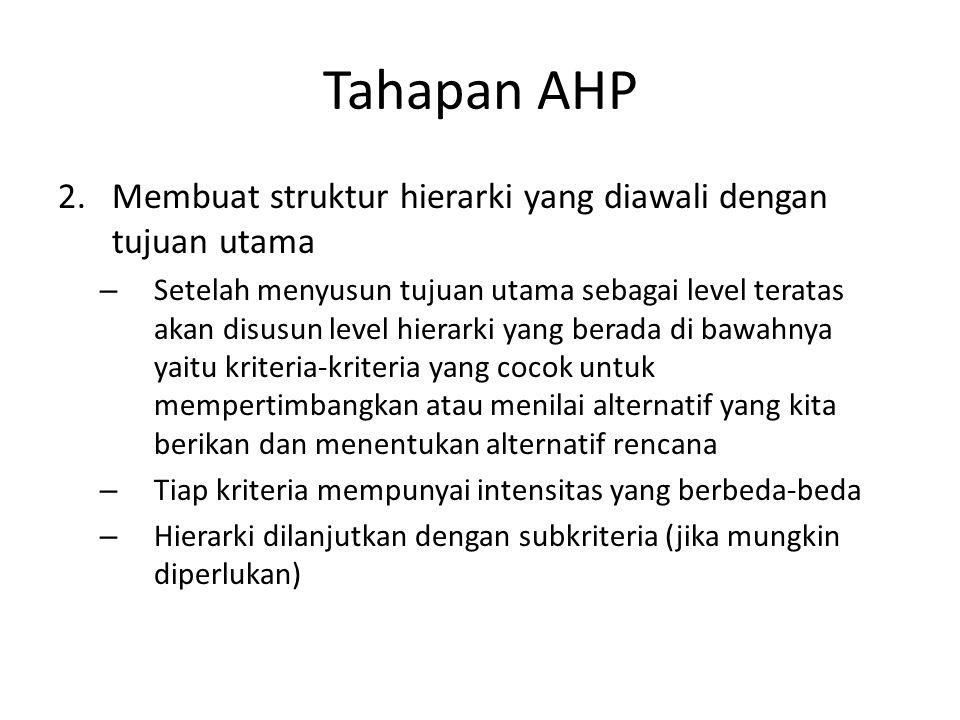 Tahapan AHP 2.Membuat struktur hierarki yang diawali dengan tujuan utama – Setelah menyusun tujuan utama sebagai level teratas akan disusun level hier