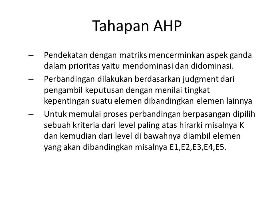 Tahapan AHP – Pendekatan dengan matriks mencerminkan aspek ganda dalam prioritas yaitu mendominasi dan didominasi. – Perbandingan dilakukan berdasarka