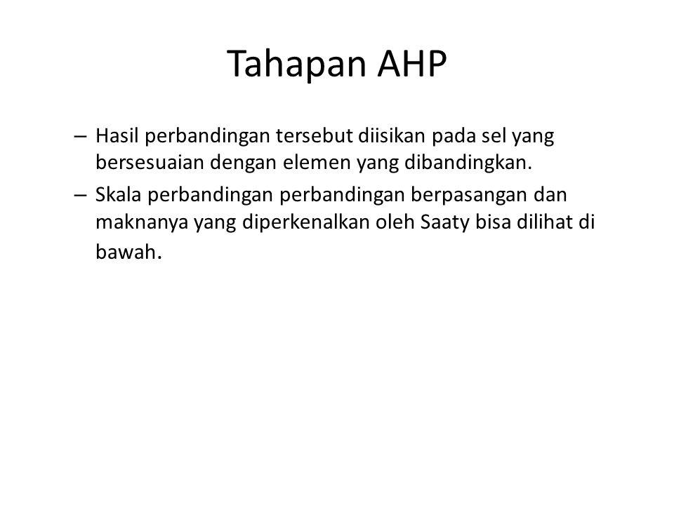 Tahapan AHP – Hasil perbandingan tersebut diisikan pada sel yang bersesuaian dengan elemen yang dibandingkan. – Skala perbandingan perbandingan berpas
