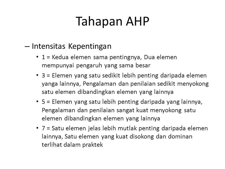 Tahapan AHP – Intensitas Kepentingan 1 = Kedua elemen sama pentingnya, Dua elemen mempunyai pengaruh yang sama besar 3 = Elemen yang satu sedikit lebi