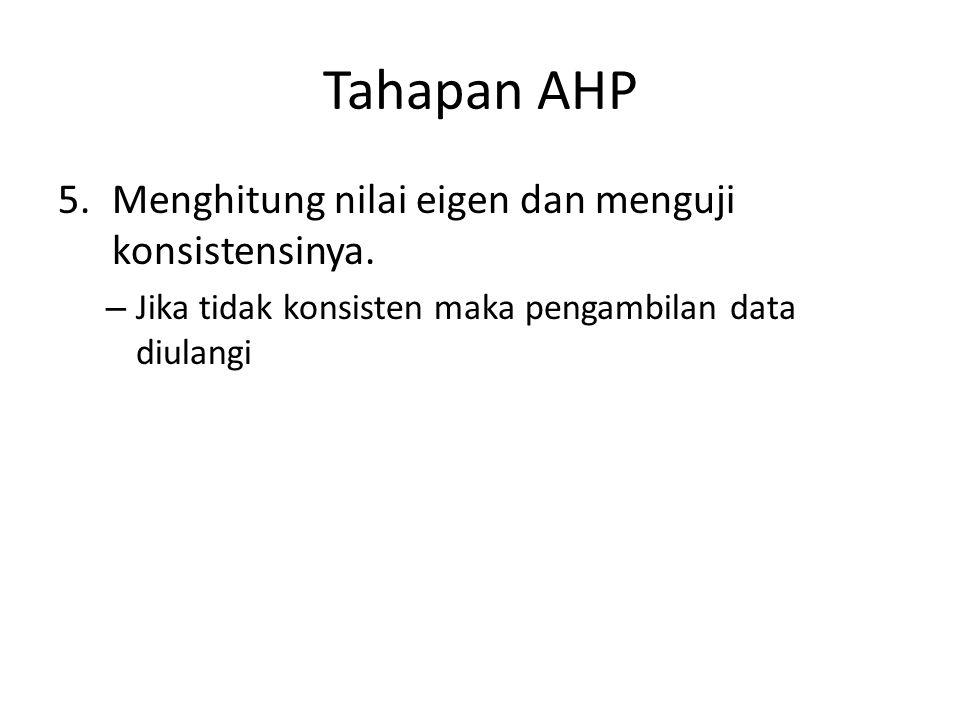 Tahapan AHP 5.Menghitung nilai eigen dan menguji konsistensinya. – Jika tidak konsisten maka pengambilan data diulangi