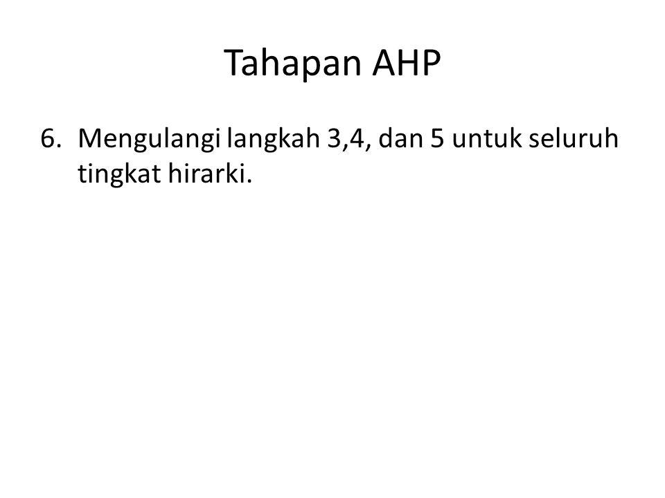 Tahapan AHP 6.Mengulangi langkah 3,4, dan 5 untuk seluruh tingkat hirarki.