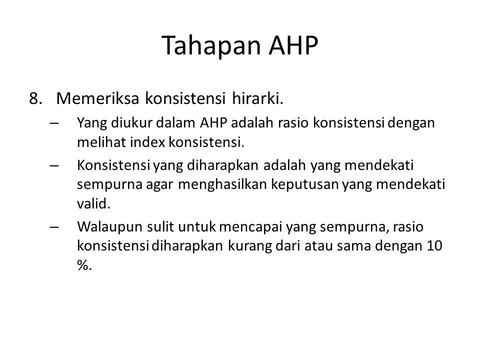 Tahapan AHP 8.Memeriksa konsistensi hirarki. – Yang diukur dalam AHP adalah rasio konsistensi dengan melihat index konsistensi. – Konsistensi yang dih