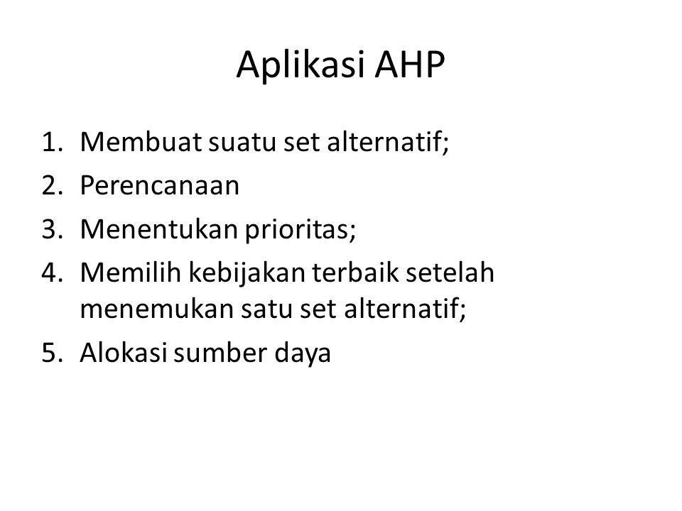 Aplikasi AHP 1.Membuat suatu set alternatif; 2.Perencanaan 3.Menentukan prioritas; 4.Memilih kebijakan terbaik setelah menemukan satu set alternatif;