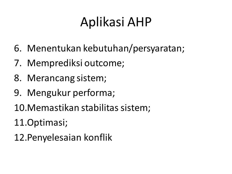 Aplikasi AHP 6.Menentukan kebutuhan/persyaratan; 7.Memprediksi outcome; 8.Merancang sistem; 9.Mengukur performa; 10.Memastikan stabilitas sistem; 11.O