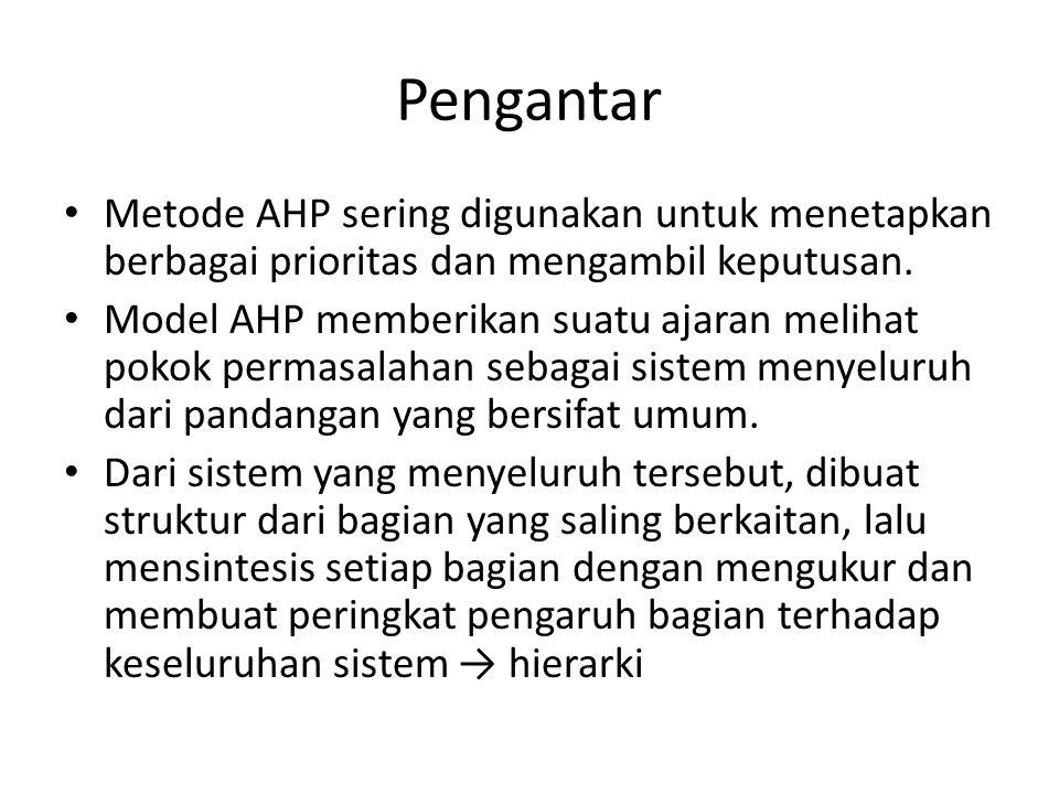 Pengantar Metode AHP sering digunakan untuk menetapkan berbagai prioritas dan mengambil keputusan. Model AHP memberikan suatu ajaran melihat pokok per