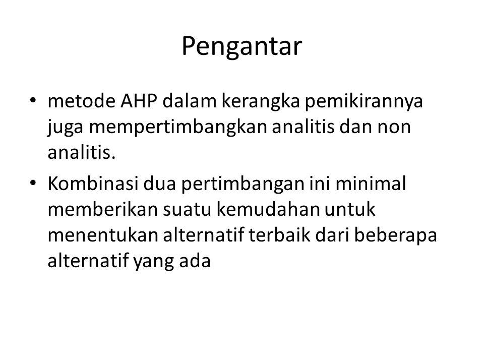Pengantar metode AHP dalam kerangka pemikirannya juga mempertimbangkan analitis dan non analitis. Kombinasi dua pertimbangan ini minimal memberikan su