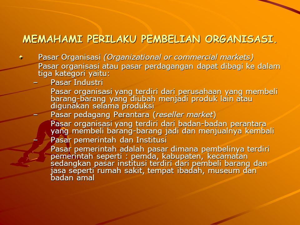 MEMAHAMI PERILAKU PEMBELIAN ORGANISASI. Pasar Organisasi (Organizational or commercial markets) Pasar organisasi atau pasar perdagangan dapat dibagi k