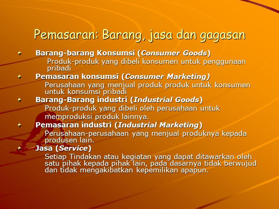 Pemasaran: Barang, jasa dan gagasan Barang-barang Konsumsi (Consumer Goods) Produk-produk yang dibeli konsumen untuk penggunaan pribadi Pemasaran kons