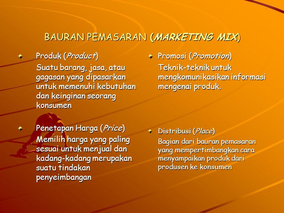 Promosi (Promotion) Teknik yang dapat digunakan adalah: –A–A–A–Advertising (Periklanan) adalah penyajian penjualan non- personal yang dikomunikasikan melalui bentuk media atau non media untuk mempengaruhi sejumlah besar konsumen.